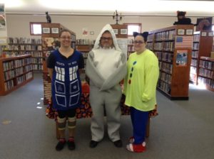 Library staff members dressed for Halloween 2017