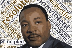 image of Dr. Martin Luther King Jr. surrounded by descriptive words regarding character and leadership