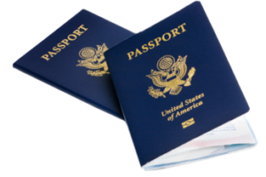Two passport booklets
